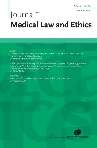 excellent quality peer-reviewed articles, reports, case notes and essays in the field of medical law and ethics